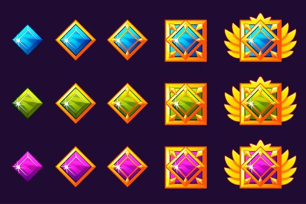 Postęp Nagradzania Klejnotów. Złote Amulety Z Kwadratową Biżuterią. Zasoby Ikon Do Projektowania Gier. Premium Wektorów