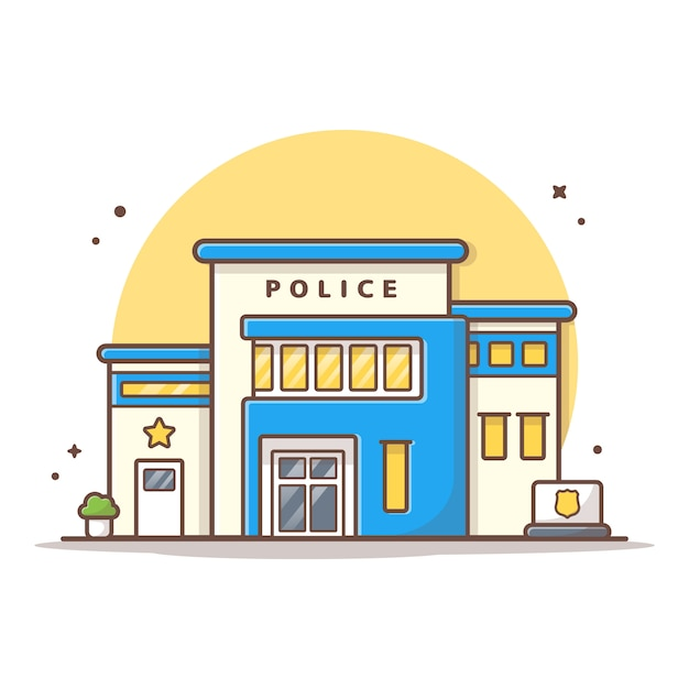 Posterunek Policji Ikony Wektorowa Ilustracja. Budynku I Punktu Zwrotnego Ikony Pojęcia Biel Odizolowywający Premium Wektorów
