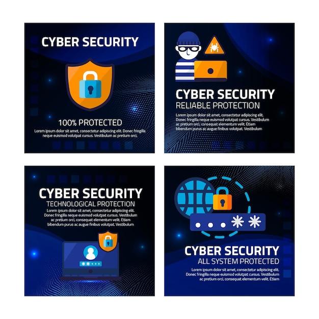 Posty Na Instagramie Dotyczące Bezpieczeństwa Cybernetycznego Darmowych Wektorów