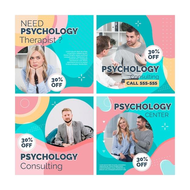 Posty Na Instagramie Dotyczące Psychologii Darmowych Wektorów