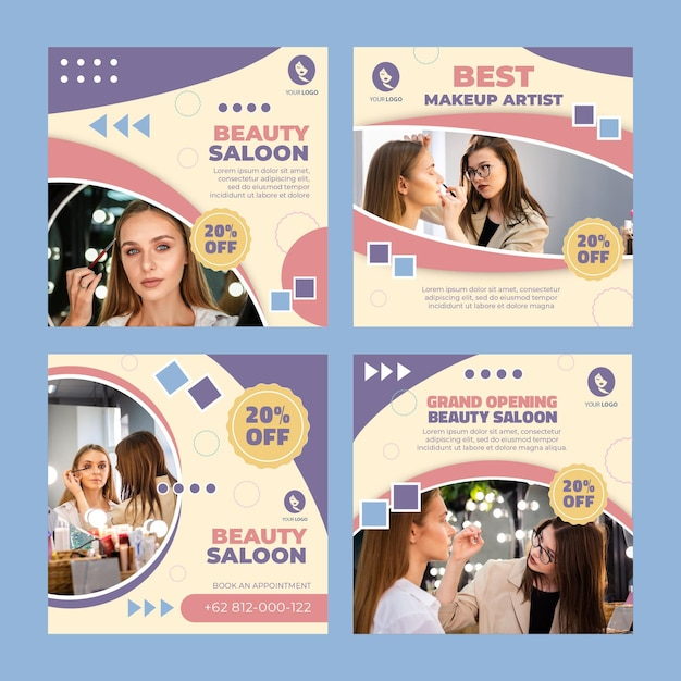Posty Na Instagramie Dotyczące Salonu Piękności Premium Wektorów