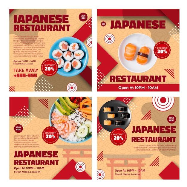 Posty Na Instagramie Japońskiej Restauracji Premium Wektorów