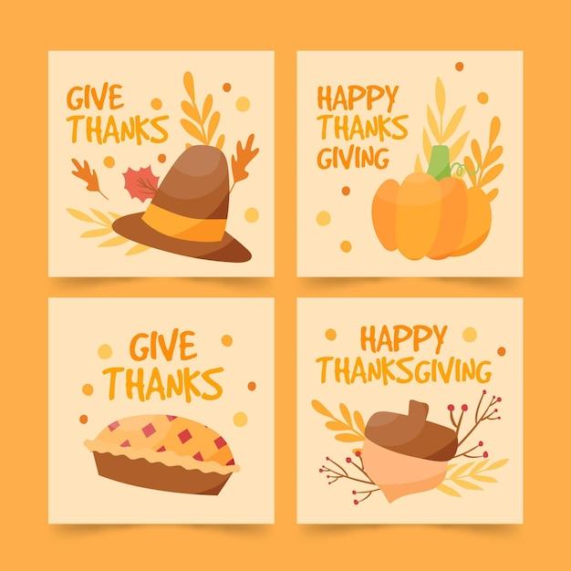 Posty Na Instagramie Z Okazji święta Dziękczynienia Darmowych Wektorów