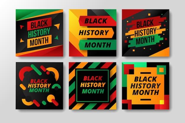 Posty Na Instagramie Z Płaskim Czarnym Miesiącem Historii Darmowych Wektorów