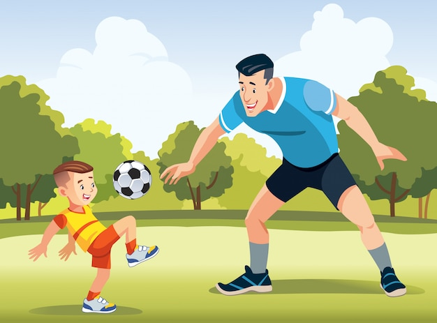 Potomstwa ojcują z jego małym synem bawić się piłkę nożną na boisku piłkarskim Premium Wektorów