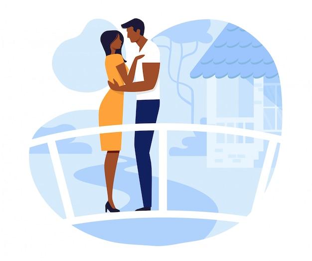 Potomstwo para na romantycznej daty wektoru ilustraci Premium Wektorów