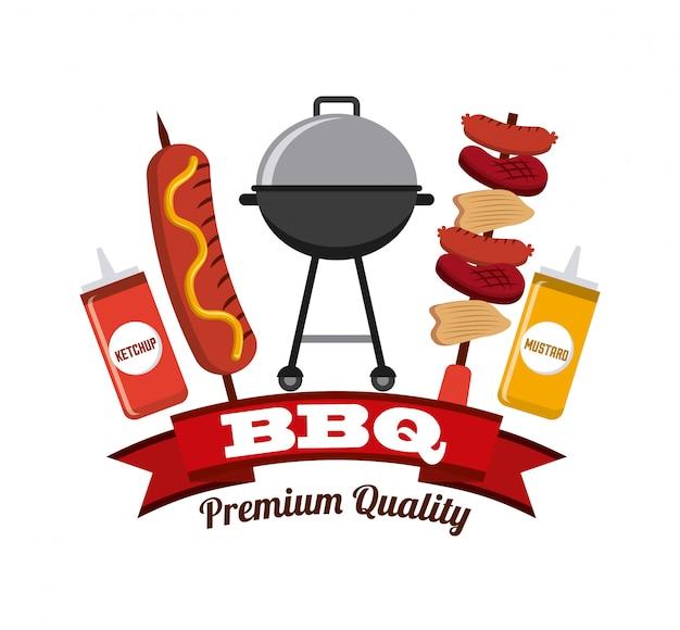 Potrawy z grilla Premium Wektorów
