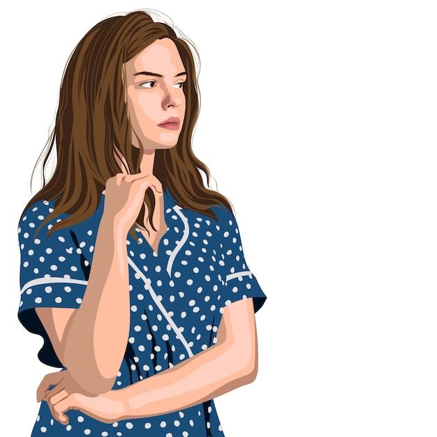 Poważna Młoda Dziewczyna W Niebieskiej Sukience W Kropki Myśli O Czymś Darmowych Wektorów