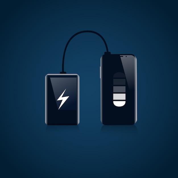 Power bank z urządzeniem przenośnej ładowarki usb koncepcja baterii smart phone Premium Wektorów