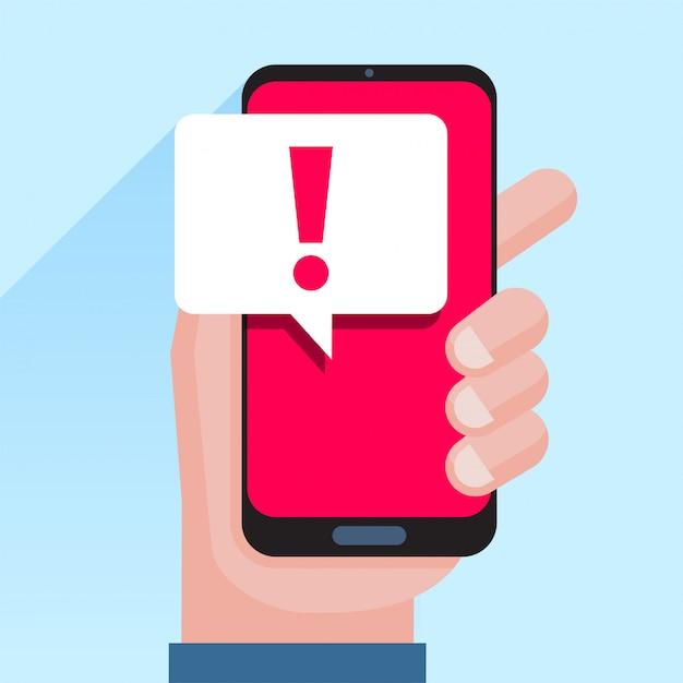 Powiadomienia Telefoniczne, Nowe Wiadomości Otrzymane Pojęć. Ręka Trzyma Smartphone Z Dymek I Wykrzyknik Ikona Premium Wektorów