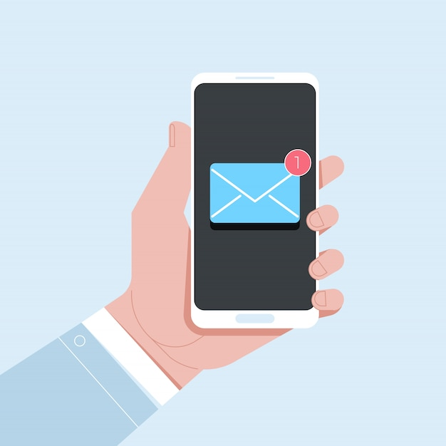 Powiadomienie O Nowej Wiadomości E-mail Na Telefonie Komórkowym Premium Wektorów