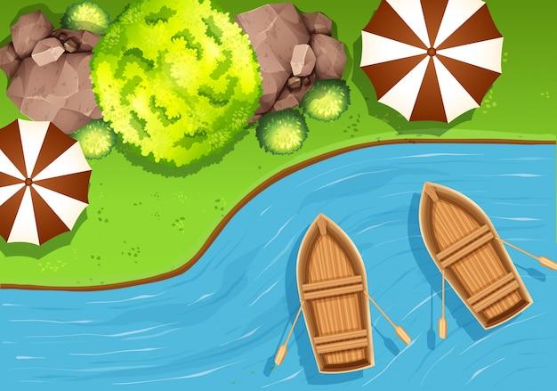 Powietrzna scena w naturze z łodziami w jeziorze Darmowych Wektorów