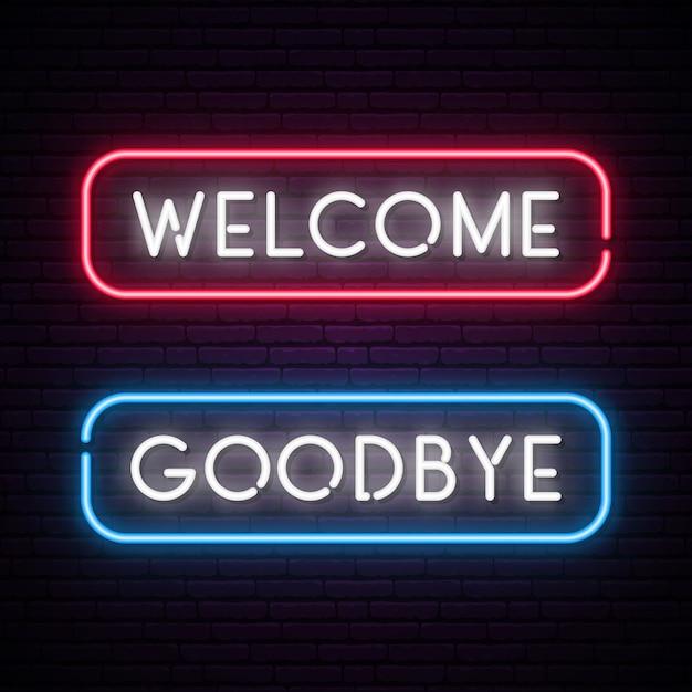 Powitanie i pożegnanie baner tekstowy neon wektor. Premium Wektorów