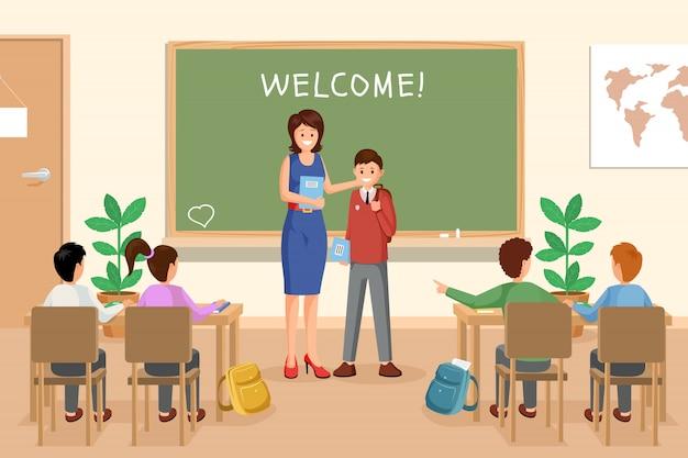 Powitanie nowej uczniowskiej ilustracji Premium Wektorów