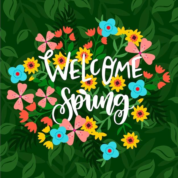 Powitanie Wiosenny Napis Z Kolorowymi Kwiatami Darmowych Wektorów