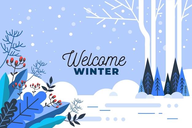 Powitanie Zimowe Pozdrowienia Na Ilustrowanym Tle Darmowych Wektorów