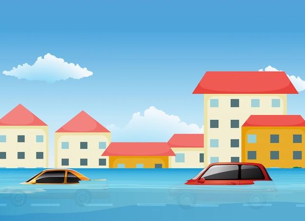 Powódź W Mieście Premium Wektorów