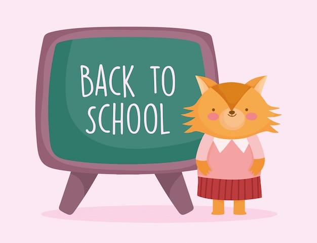Powrót Do Edukacji Szkolnej śliczna Lisica Z Tablicy Premium Wektorów