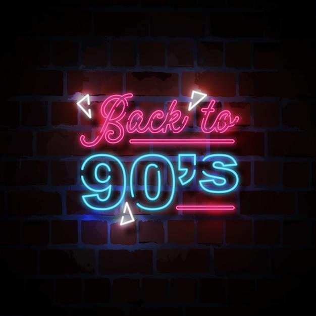 Powrót Do Ilustracji Znak Neon W Stylu Lat 90-tych Premium Wektorów