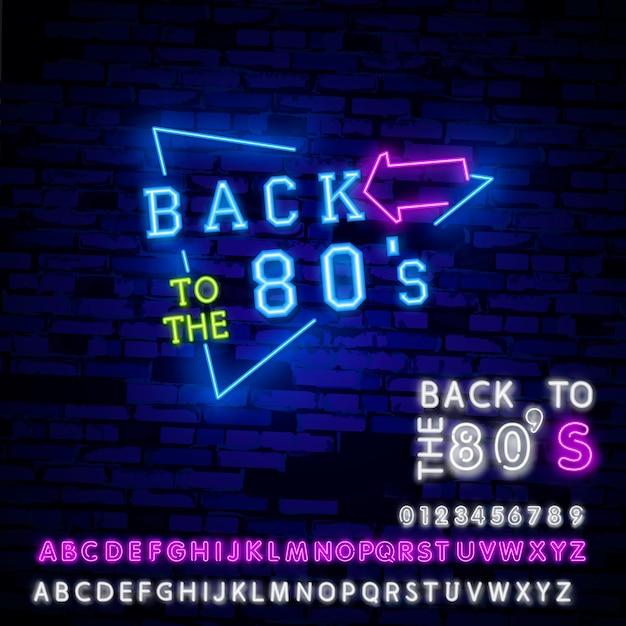 Powrót do neonu lat 80-tych Premium Wektorów