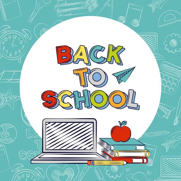 Powrót do przyborów szkolnych, laptopa, jabłka, książek Darmowych Wektorów