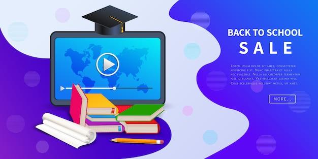 Powrót Do Sprzedaży Szkolnej, Rabatowy Baner Internetowy Na Promocję Marketingu Detalicznego Premium Wektorów