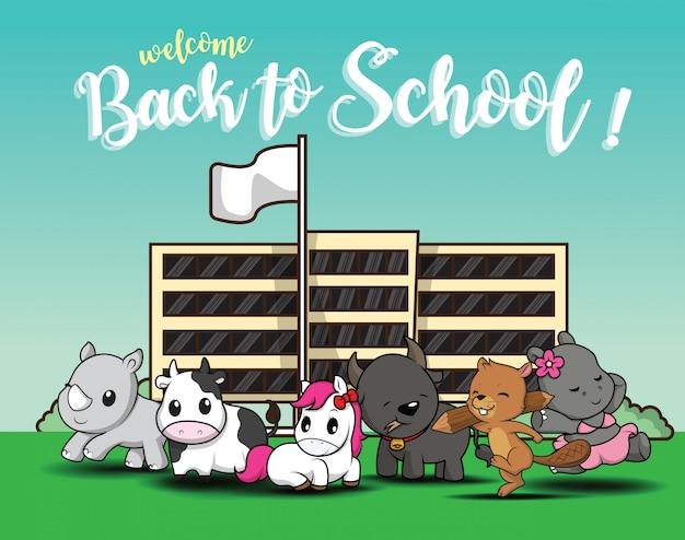 Powrót do szkoły., cute cartoon zwierząt. Premium Wektorów