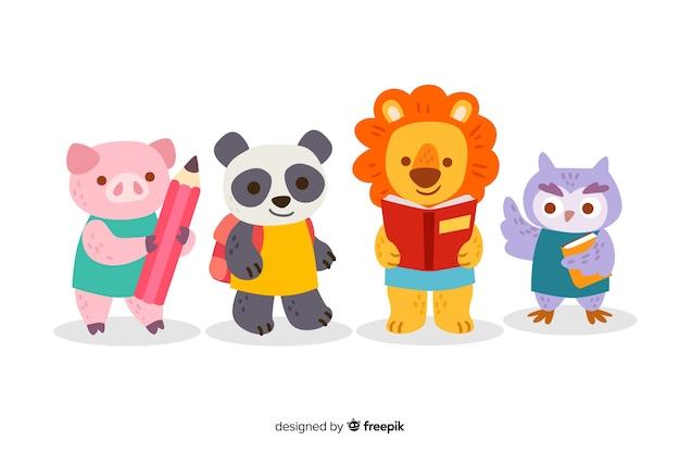 Powrót do szkoły cute zwierząt kolekcji Darmowych Wektorów