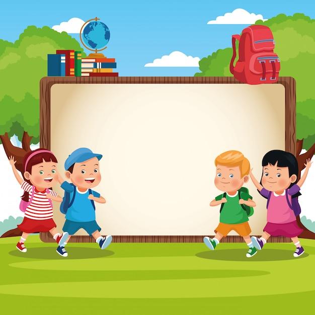 Powrót do szkoły dla dzieci kreskówki Darmowych Wektorów