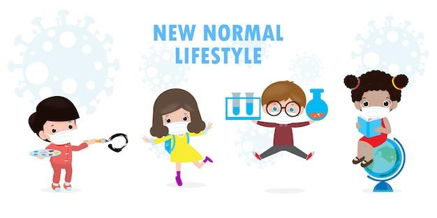 Powrót Do Szkoły Dla Nowej Koncepcji Normalnego Stylu życia. Szczęśliwa Grupa Dzieci Noszących Maskę Na Twarz I Dystans Społeczny Chroni Koronawirusa Covid 19, Dzieci I Przyjaciele Chodzą Do Szkoły Na Białym Tle Premium Wektorów