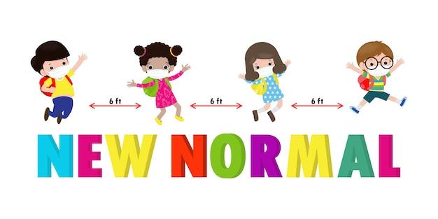 Powrót Do Szkoły Dla Nowej Koncepcji Normalnego Stylu życia. Szczęśliwe Dzieci Noszące Maskę I Dystans Społeczny Chronią Koronawirusa Covid 19, Grupa Dzieci I Przyjaciół Chodzą Do Szkoły Na Białym Tle Premium Wektorów
