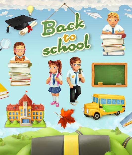 Powrót Do Szkoły. Edukacja Wektor Zestaw Clipartów Premium Wektorów