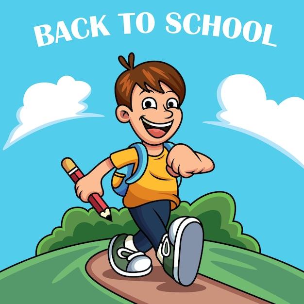 Powrót Do Szkoły Ikona Ilustracja. Koncepcja Ikona Dziecko Z śmieszne Wypowiedzi Premium Wektorów