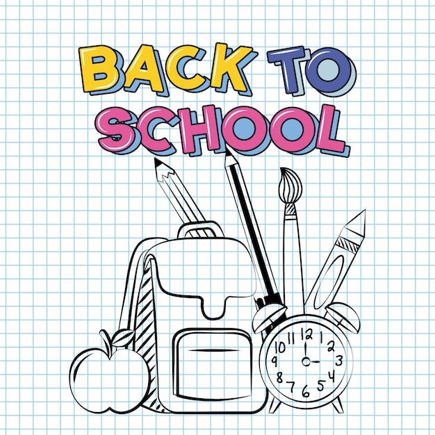 Powrót do szkoły ilustracji z dostawami, takich jak zegar torba, jabłko i ołówek Darmowych Wektorów