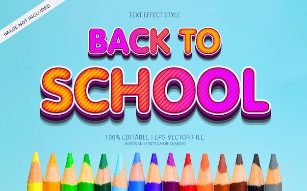 Powrót Do Szkoły Kolorowe Efekty Tekstowe Premium Wektorów