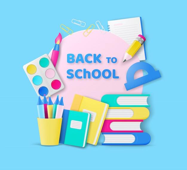 Powrót Do Szkoły Kolorowy Design Z Realistycznymi Kolorowymi Przedmiotami Do Edukacji W Szkole. Premium Wektorów