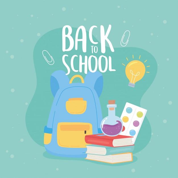 Powrót Do Szkoły, Książki Plecak Probówki Paleta Kolor Edukacji Kreskówka Premium Wektorów