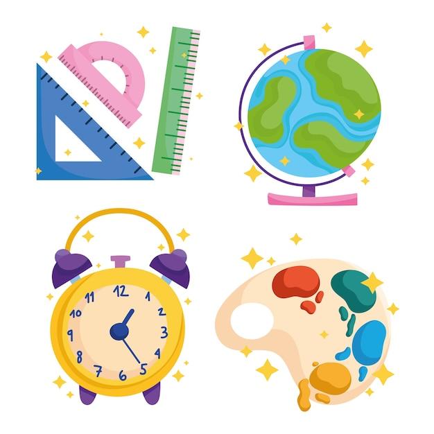 Powrót Do Szkoły, Mapa świata Zegar Paleta Farby Kolor Ikony Premium Wektorów