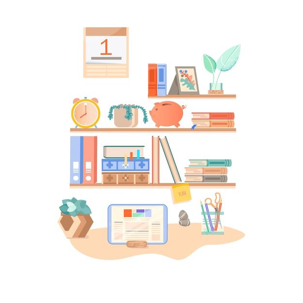 Powrót do szkoły. miejsce pracy studenta. półka z książkami. przybory szkolne Premium Wektorów