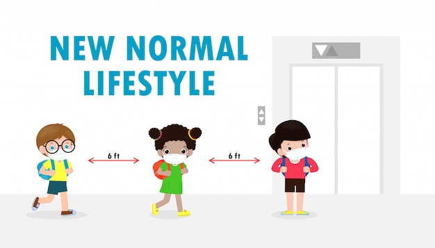 Powrót Do Szkoły Na Nową Koncepcję Normalnego Stylu życia. Szczęśliwe Dzieci Noszące Maskę Premium Wektorów