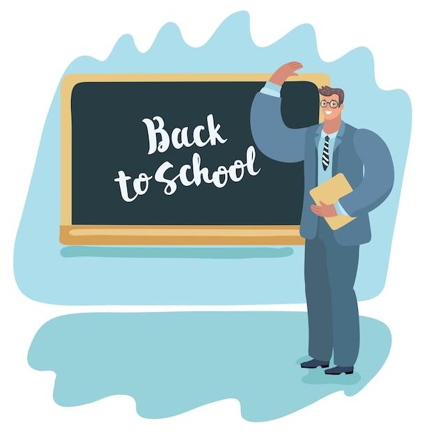 Powrót Do Szkoły Nauczycielka Uczy Swoich Uczniów Premium Wektorów