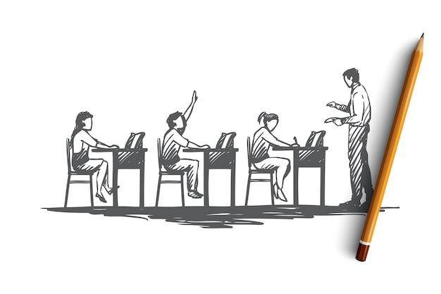 Powrót Do Szkoły, Nauki, Edukacji, Wiedzy, Koncepcji Uczenia Się. Ręcznie Rysowane Uczniów W Klasie Podczas Szkicu Koncepcji Lekcji. Premium Wektorów
