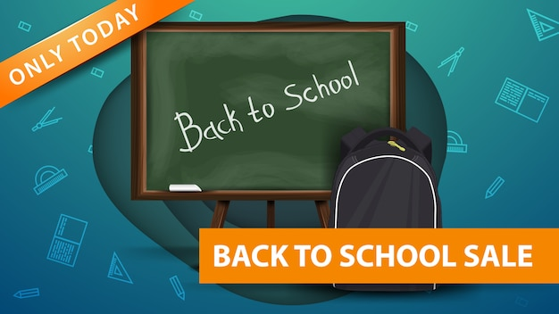 Powrót do szkoły, nowoczesny zielony sztandar rabatowy w kształcie papieru Premium Wektorów