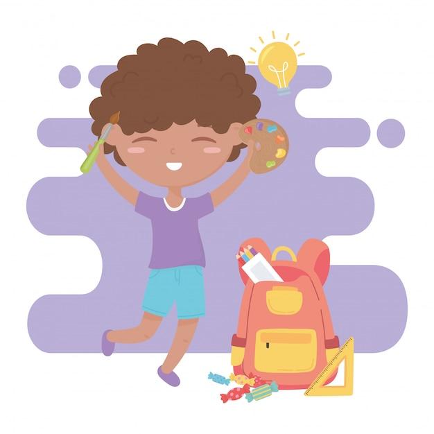 Powrót Do Szkoły, Ołówki Linijki Chłopiec Uczeń I Paleta Kolorów Edukacja Kreskówka Premium Wektorów