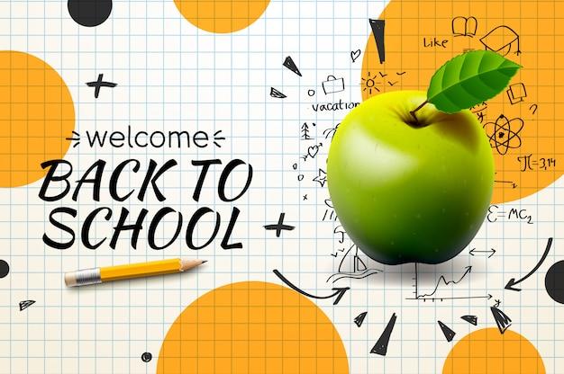 Powrót Do Szkoły, Plakat I Papier W Kratkę. Premium Wektorów