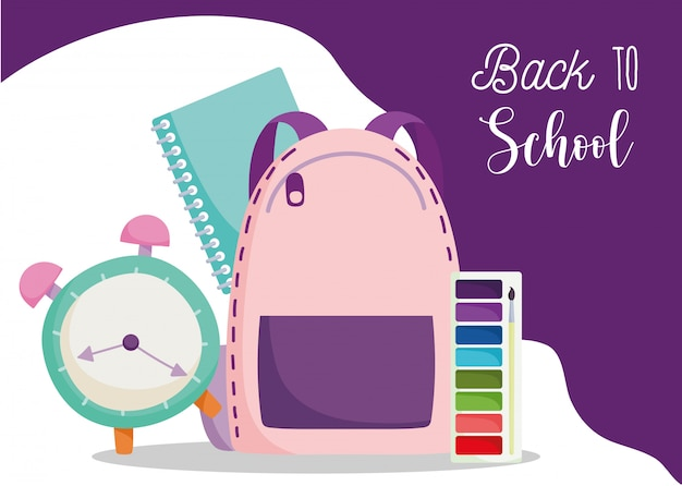 Powrót Do Szkoły, Plecak Zegar Notebook I Paleta Kolorów Ilustracja Kreskówka Edukacja Podstawowa Premium Wektorów