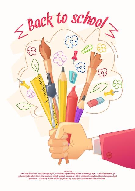 Powrót Do Szkoły Pozer. Duża Sprzedaż Artykułów Piśmiennych Do Rękodzieła W Stylu Kreskówki. Towar Dla Kreatywności Dzieci Premium Wektorów