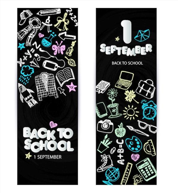 Powrót do szkoły projekt bannera promocyjnego. wektor czarny chalkboard Premium Wektorów