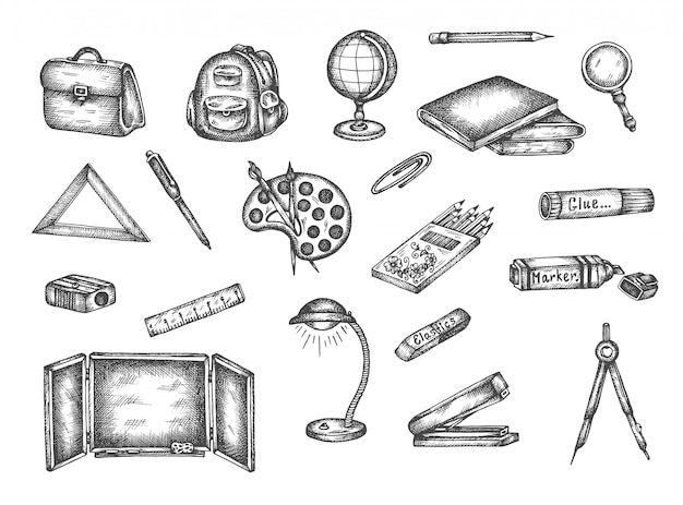 Powrót do szkoły ręcznie rysowane elementy zestawu doodle Premium Wektorów