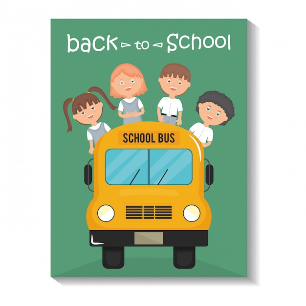 Powrót do szkoły. śliczni mali ucznie w autobusowej szkole Darmowych Wektorów